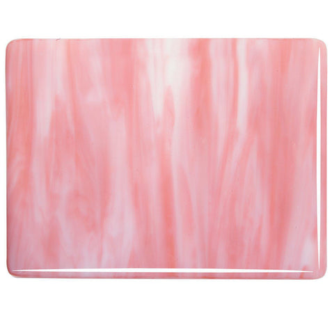 White, Salmon Pink Opal Streaky (2305) 3mm-1/2 Sheet-The Glass Underground