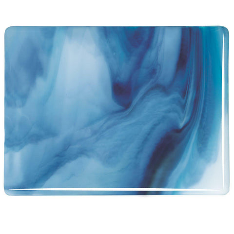 White, Turquoise, Midnight Blue Streaky (3086) Full Sheet Glass-The Glass Underground
