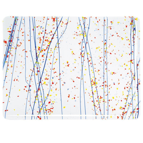 Yellow, Blue and Red Frit, Blue Streamers Mardi Gras (4223) 3mm-The Glass Underground
