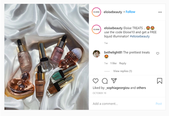 Eloise Beauty items in an Instagram photo with a caption