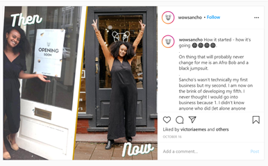 A screenshot of Sancho's Instagram for the owners retail store opening