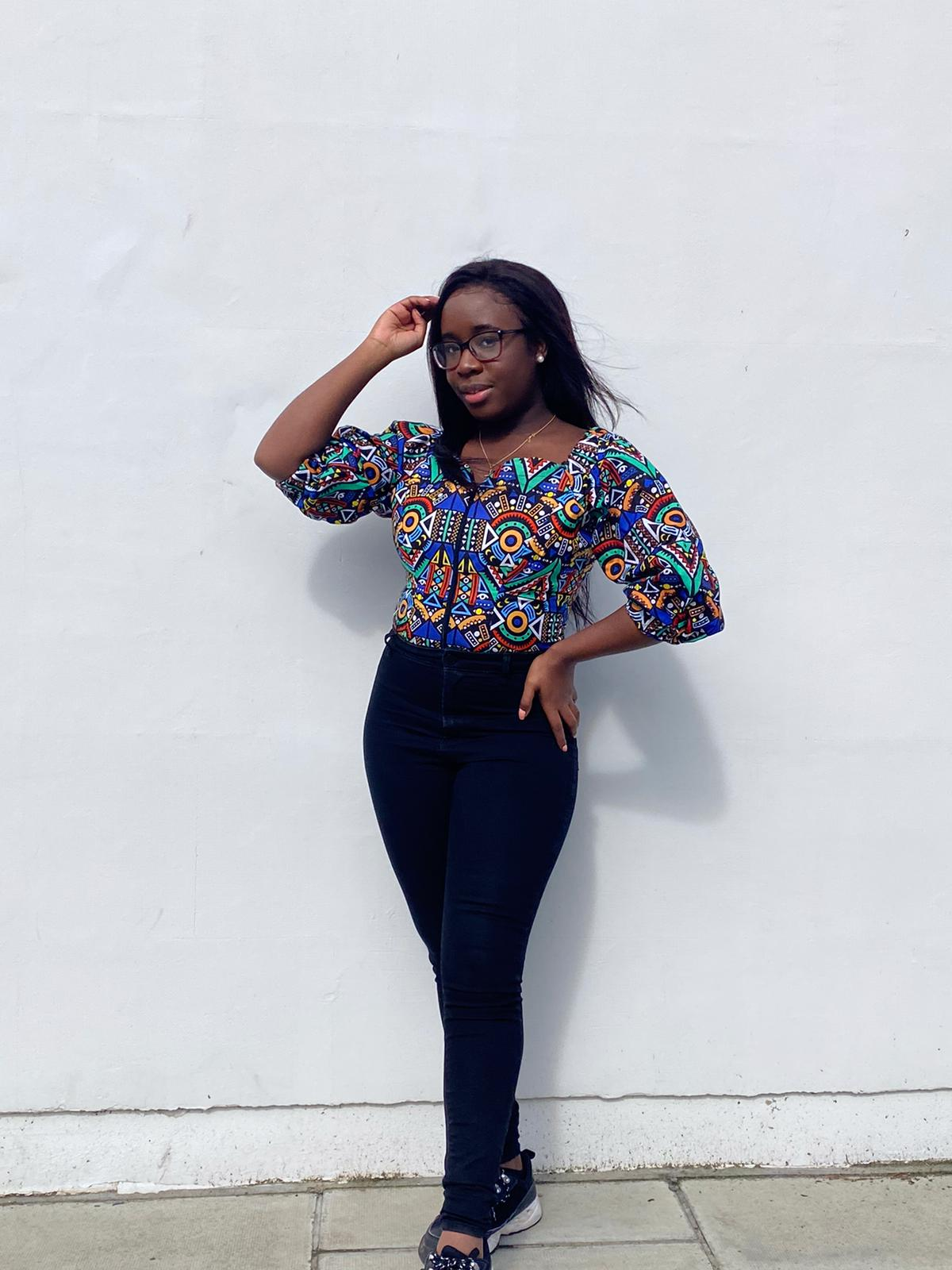 The Bola: Blue African Print Top with Zip Front and Bardot Neckline