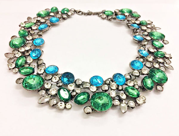 Green and Blue Necklace by Eldimaa Fashion - Eldimaa Fashion