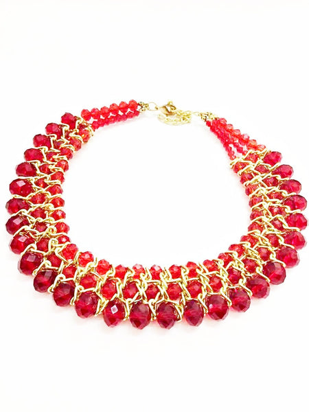 Gold and Red Necklace by Eldimaa Fashion - Eldimaa Fashion