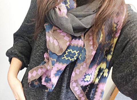 Pink Aztec Print Scarf by Eldimaa Fashion - Eldimaa Fashion