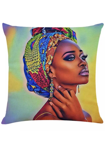 Part of our beautiful homeware range, this stunning decorative cushion brings a sense of colour and vibrancy to your home. The mustard and green cushion has a graphic of a lady wearing an African print headwrap, making it the ideal sofa cushion or chair cushion.
