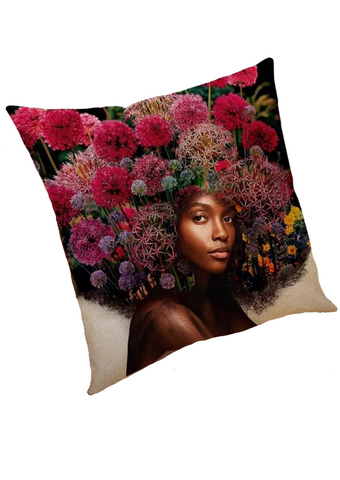 Part of our African inspired homeware, this statement cushion is a beautiful addition to your home to add a touch of African inspired decor to your home. The white cushion is adorned with a graphic featuring an African woman with an Afro made of flowers. The floral cushion is the ideal sofa cushion or chair cushion.