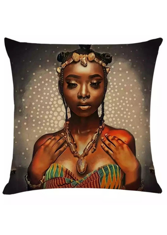 This knitted cotton cushion cover is a cosy addition to your home. The African inspired homeware is a decorative cushion featuring an African bride dressed in Ashanti Kente print, bringing a pop of colour to this statement cushion. The ideal sofa cushion or chair cushion to add a touch of African decor to your home.