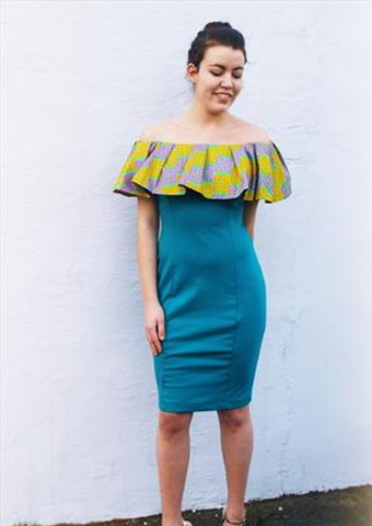 The turquoise blue bodycon dress is a gorgeous off shoulder midi dress, the yellow African print top piece making this bardot dress unique.