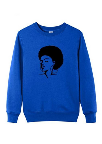 This blue crewneck sweatshirt is a great cosy addition to your collection of round neck jumpers. The sweatshirt graphic of a woman with an afro adorns the front of this royal blue jumper.