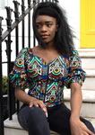 A blue off shoulder top, The Bola, with its striking African print brings a unique Ankara style blue bardot top to your wardrobe. The African print top with bardot neckline is the perfect long sleeve summer top, transcending seasons to provide you with an off shoulder blouse for all year round.
