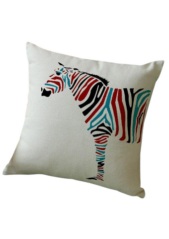The colourful zebra graphic on a white cushion is part of our beautiful African inspired decor range. The African homeware adds vibrancy to your home, the knitted cotton making the knitted cushion cover cosy and perfect for snuggling into. The ideal sofa cushion and chair cushion, the statement decorative cushion is a great addition to your home.