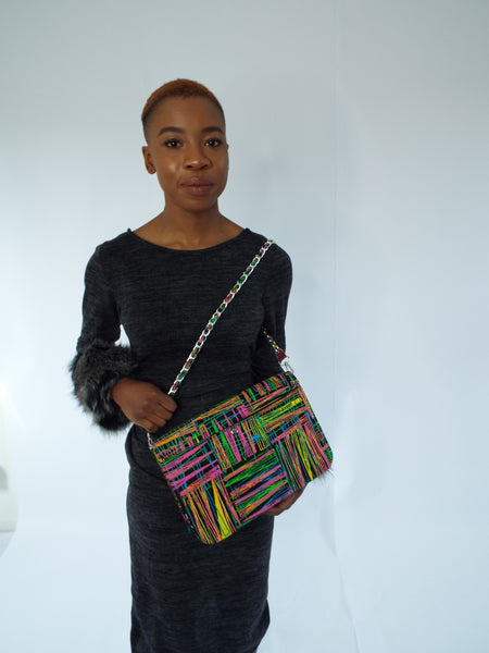 Quilted African Print Candy Stripes Ankara Bag with tassels by Eldimaa