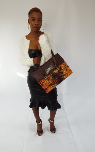 Brown Handmade Adire Ankara African Print and Leather Tote Bag