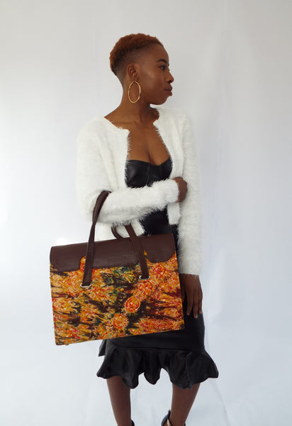 Brown Handmade Adire Ankara African Print and Leather Tote Bag - Eldimaa Fashion