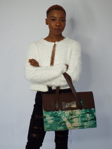 Blue Handmade Adire Ankara African Print and Leather Tote Bag - Eldimaa Fashion
