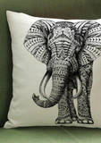Our gorgeous African print decorative cushion, the white cushion with elephant graphic, is the perfect addition to the your home. Part of our stunning African inspired homeware range, the knitted cotton cushion is the ideal sofa cushion or chair cushion.