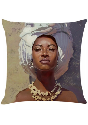 A stunning beige & grey cushion featuring a graphic of a woman wearing a gele. The African inspired homeware is the ideal decorative cushion, sofa cushion or chair cushion.