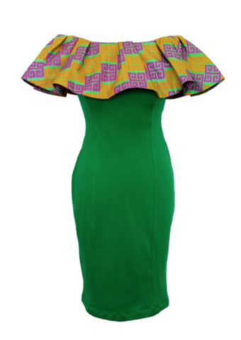 A green bodycon dress, The Dami contours to your body, the midi length making it perfect for wearing as a casual or smart outfit. The Bardot dress is made up of the green bodycon bottom layer and a yellow and pink African print top piece to make a super stylish off shoulder dress.
