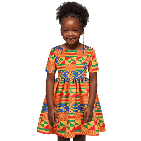 Kente Kids Girls African Print Ankara Flared Dress - Eldimaa Fashion
