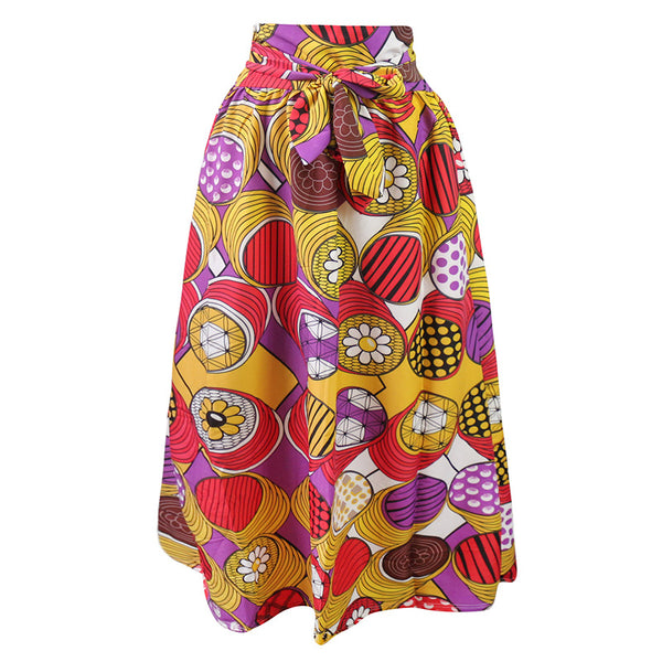 Yellow Maxi Ankara African Print Skirt - Eldimaa Fashion