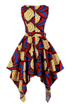 The Abi is a red and blue high low dress that can also be worn as a dress top over leggings. The asymmetric dress has a zip up the back, and is a sleeveless dress and a round neck dress. The Ankara Style African dress can be dressed up or down for any occasion.