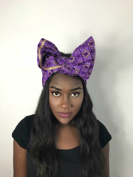 Purple African Print Ankara Headwrap Scarf by Eldimaa - Eldimaa Fashion