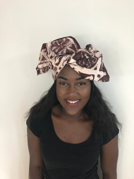 Brown Mud Cloth African Print Ankara Headwrap Scarf by Eldimaa - Eldimaa Fashion