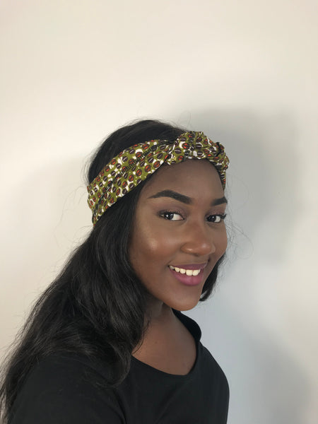Green African Print Ankara Headwrap Scarf by Eldimaa - Eldimaa Fashion