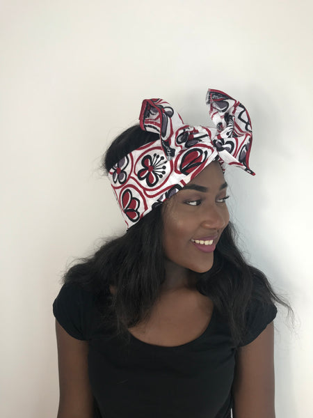 Red African Print Ankara Headwrap Scarf by Eldimaa - Eldimaa Fashion