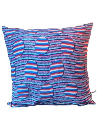 Red and blue African print cushion. This decorative cushion is part of our gorgeous African homeware range.