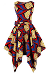The Abi is a red and blue high low dress that can also be worn as a dress top over leggings. The asymmetric dress is a sleeveless dress and a round neck dress. The Ankara Style African dress can be dressed up or down for any occasion.