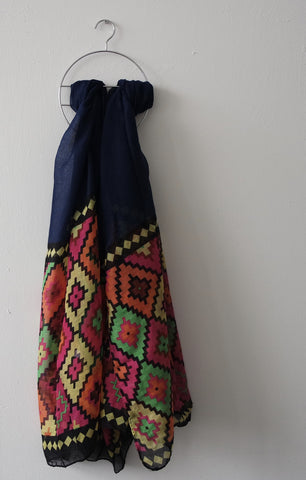 Blue Aztec Print Scarf by Eldimaa Fashion - Eldimaa Fashion