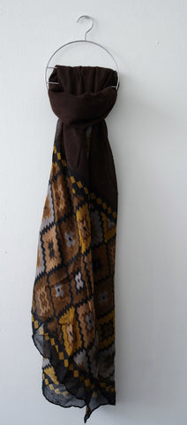 Brown Aztec Print Scarf by Eldimaa Fashion - Eldimaa Fashion