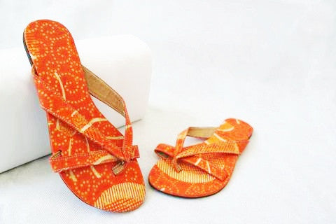 Orange Printed Summer Sandals by Eldimaa Fashion - Eldimaa Fashion