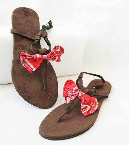 Brown Sandals with Red Bow by Eldimaa Fashion - Eldimaa Fashion
