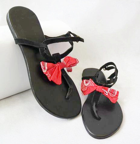 Black Sandals with Red Bow by Eldimaa Fashion - Eldimaa Fashion