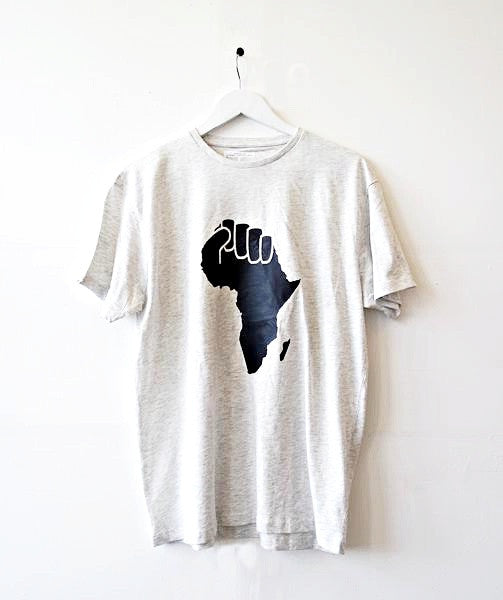 Grey Map of Africa T-Shirt by Eldimaa Fashion - Eldimaa Fashion