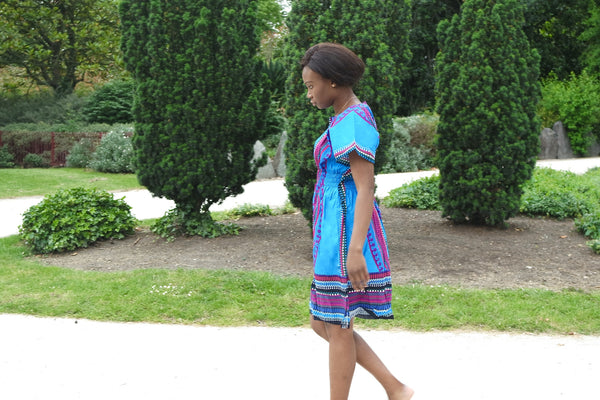 Blue Dashiki Dress African Inspired by Eldimaa Fashion - Eldimaa Fashion