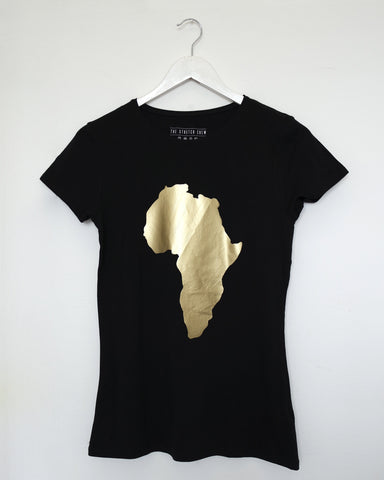 Gold Map of Africa Black T-shirt by Eldimaa Fashion - Eldimaa Fashion
