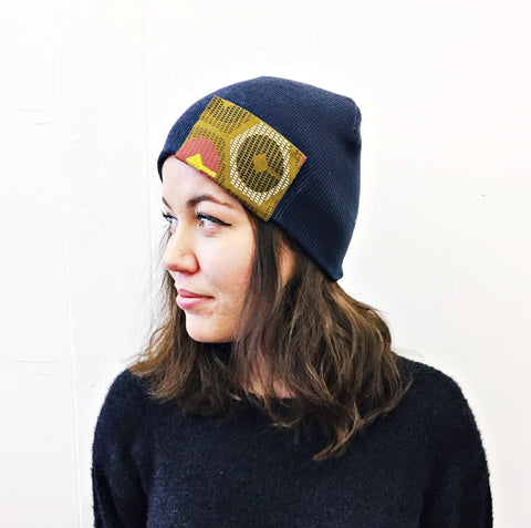 Navy African Beanie Hat by Eldimaa Fashion - Eldimaa Fashion