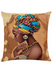 The Adah is an African inspired decorative cushion, the African homeware featuring a graphic of an African woman wearing a colourful kente print headwrap. Ideal for use as a sofa cushion or chair cushion, the African inspired decor is made from knitted cotton, making the knitted cushion cover perfect for snuggling into.