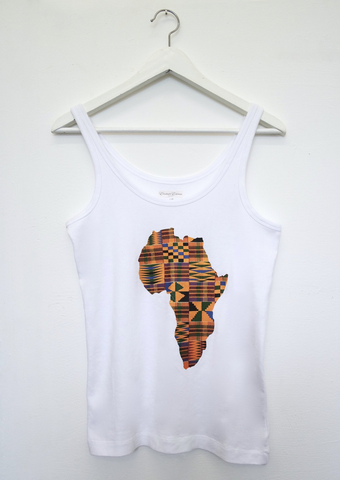 A white tank top with kente print of Africa in the centre. The sleeveless white top has a round neck.
