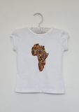 Part of our African kids clothes range, The Anika is a white girls top with a kente print map of Africa in the centre. The short sleeve t shirt is the perfect girls summer top.