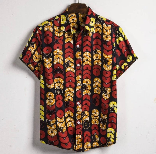 Men's Ankara African Print Button Cotton Shirt