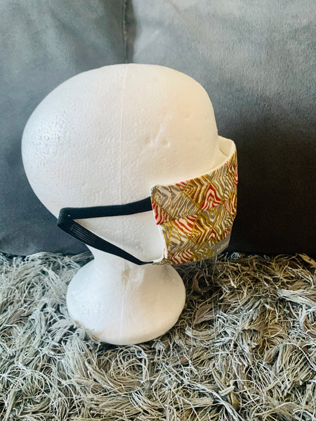Gold and Cream Ankara African Print Protective Face Mask - Eldimaa Fashion