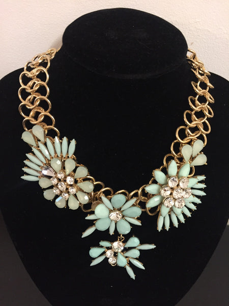 Gold and Mint Gem Statement Necklace by Eldimaa Fashion - Eldimaa Fashion