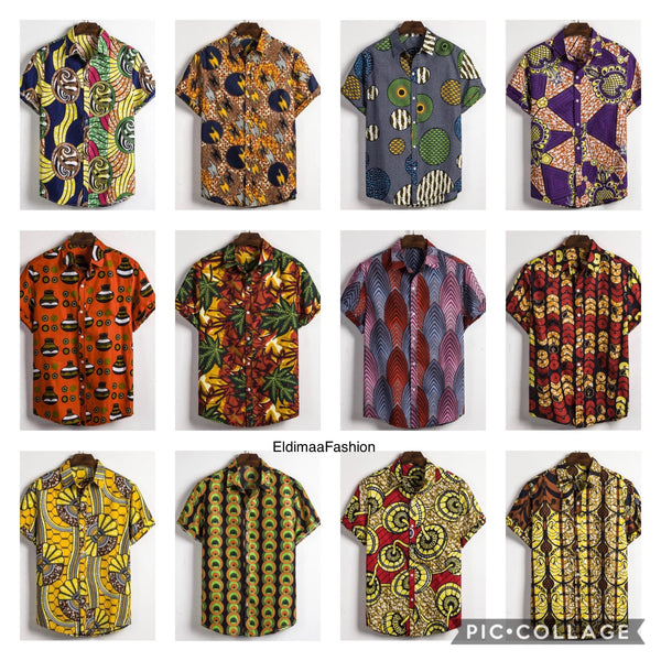 Men's Ankara African Print Button Shirt