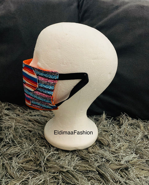 Orange Ankara African Print Protective Face Mask - Eldimaa Fashion