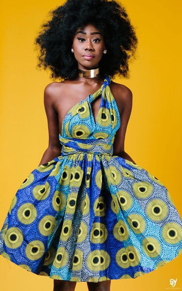 Yellow and Blue Ankara African Print Multi way Wrap Dress - Eldimaa Fashion